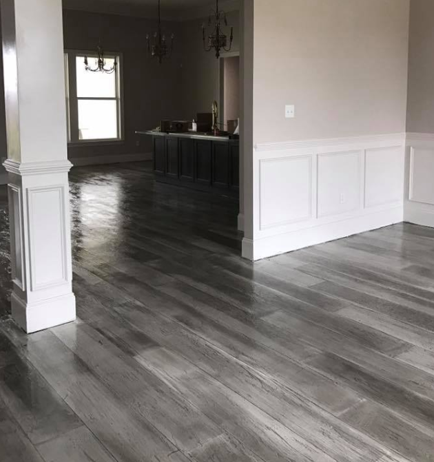 Dark Gray Stained Concrete Floor In Sylvania Ohio Home